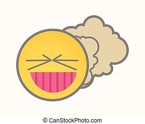 Fart - Cartoon Smiley Vector Face - Fart - Cartoon Smiley...
