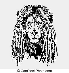 Lion head with dreadlocks - editable vector EPS10 image