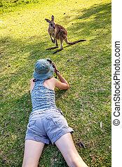 Wildlife Photographer - Wildlife woman photographer takes...