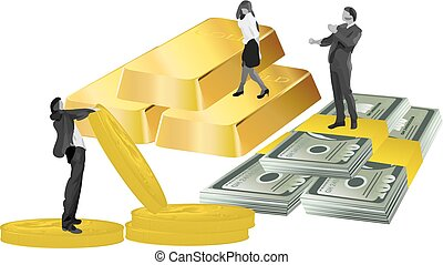 business people, gold, money and coins
