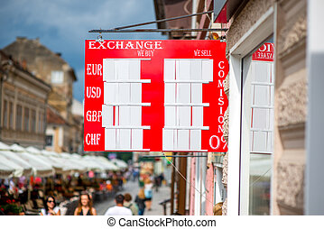 Exchange rate table on the street - Exchange rate table with...