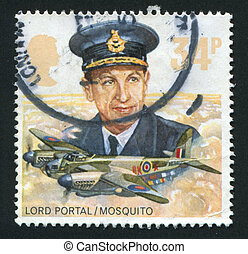 postmark - GREAT BRITAIN - CIRCA 1986: Royal Air Force...