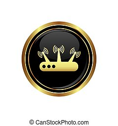 Router icon on the black with gold round button. Vector...