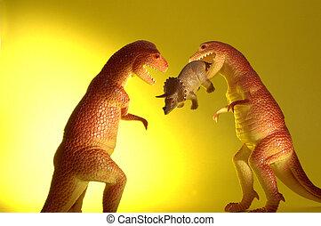 Dinosaurio, toma, encima