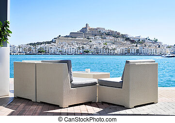 Sa Penya and Dalt Vila districts in Ibiza Town, Spain - an...