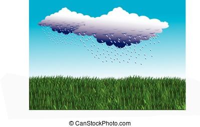 rain cloud - vector, rain cloud and green grass against blue...