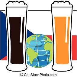 vector beer glasses on national european flag