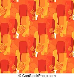 Vector pattern with beer glasses, hops different warm colors...