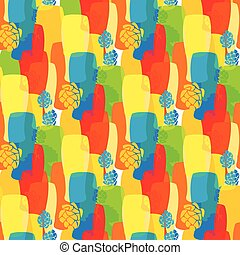 Vector pattern with beer glasses, hops different cold bright...