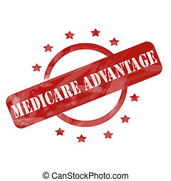 Red Weathered Medicare Advantage Stamp Circle and Stars...