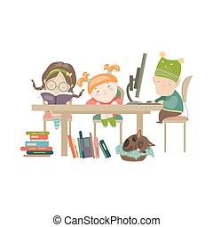 Friends doing homework. Vector Illustration of boy and girls...