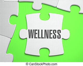 Wellness - Jigsaw Puzzle with Missing Pieces. Bright Green...