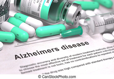 Diagnosis - Alzheimers Disease Medical Concept with Blurred...