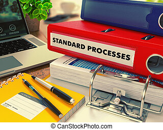 Red Office Folder with Inscription Standard Processes - Red...