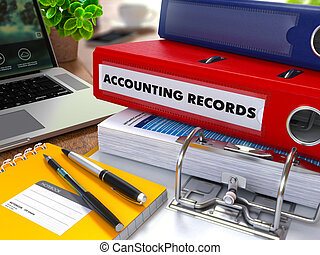Red Ring Binder with Inscription Accounting Records. - Red...
