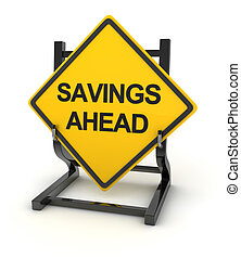 Road sign - savings ahead