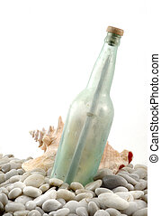 Message In A Bottle - Old sea worn bottle with message...