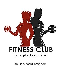 Fitness Emblem - Fitness club logo or emblem with woman and...
