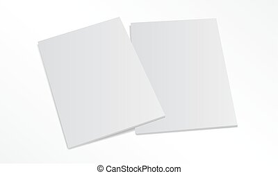 two blank magazine covers isolated on white background -...