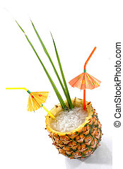 Tropical Pineapple Drink - Natural Pineapple hollowed out...