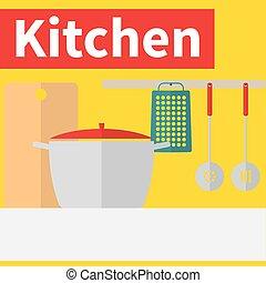 Kitchen interior flat design illustration - Kitchen untencil...