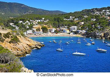Cala Vedella beach in Sant Josep de Sa Talaia, in Ibiza...
