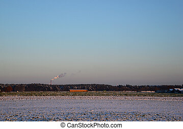 smoke from a chimney - winter - Photo of industrial smoke...