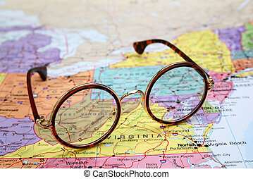 Glasses on USA map - West Virginia