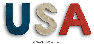 USA Word Text Vector - 3D USA Word Text Vector American Flag...