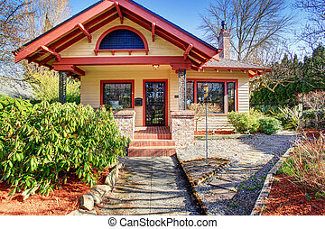 Gorgeous northwest home with red trim. - Gorgeous tan...