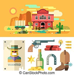 Wild West landscape, icons and objects. Flat.