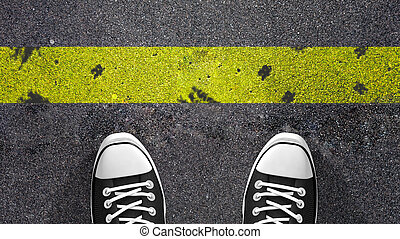 Cross the yellow line Concept illustration showing shoes in...