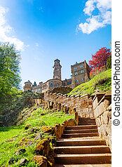 Stairs to old ruins of Lowenburg castle, Bergpark, Kassel...