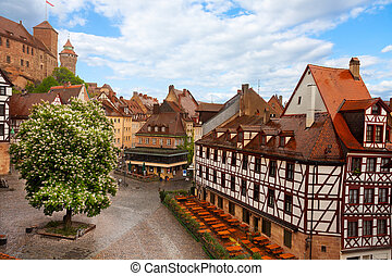 View from Kaiserburg of Fachwerk houses, Nuremberg - Top...