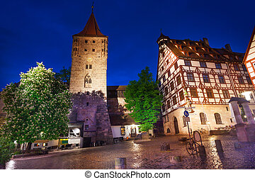 The night view of inner yard in Kaiserburg - The night view...