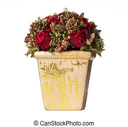 aislado, navidad, centro de mesa, rosas