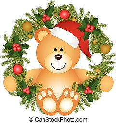 Teddy bear Christmas wreath - Scalable vectorial image...