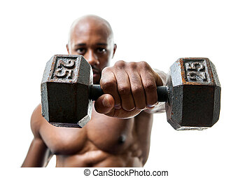 Muscle Man Holding dumbell - Toned and ripped lean muscle...