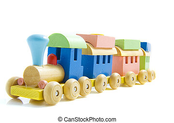 Toy train made of wood isolated on a white background