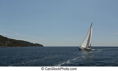 Boat in sailing regatta. Luxury