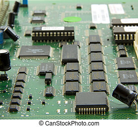Mainboard - Chips on a mainboard macro photographed in...