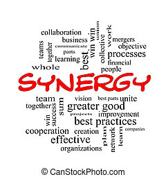 Synergy Word Cloud Concept in red caps