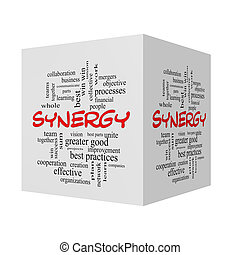 Synergy 3D Word Cloud Concept in red caps with great terms...