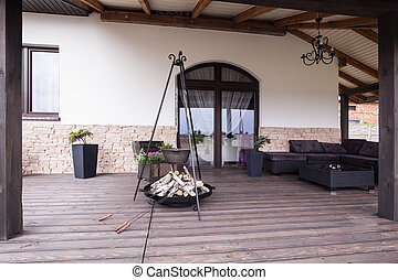 Modern patio with fireplace - Picture of modern stylish...