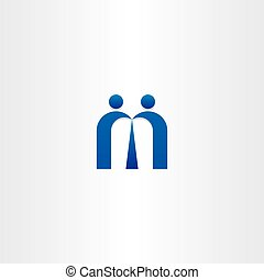 blue letter m people business icon design