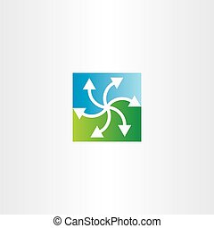 green blue arrows recycling symbol design
