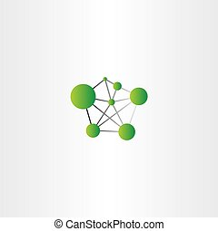 molecule icon green vector logo design
