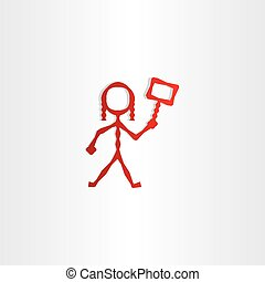 red girl with sign in hand icon