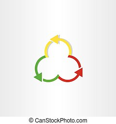 red green and yellow arrows recycling symbol design