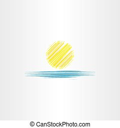 summer icon sun and sea water